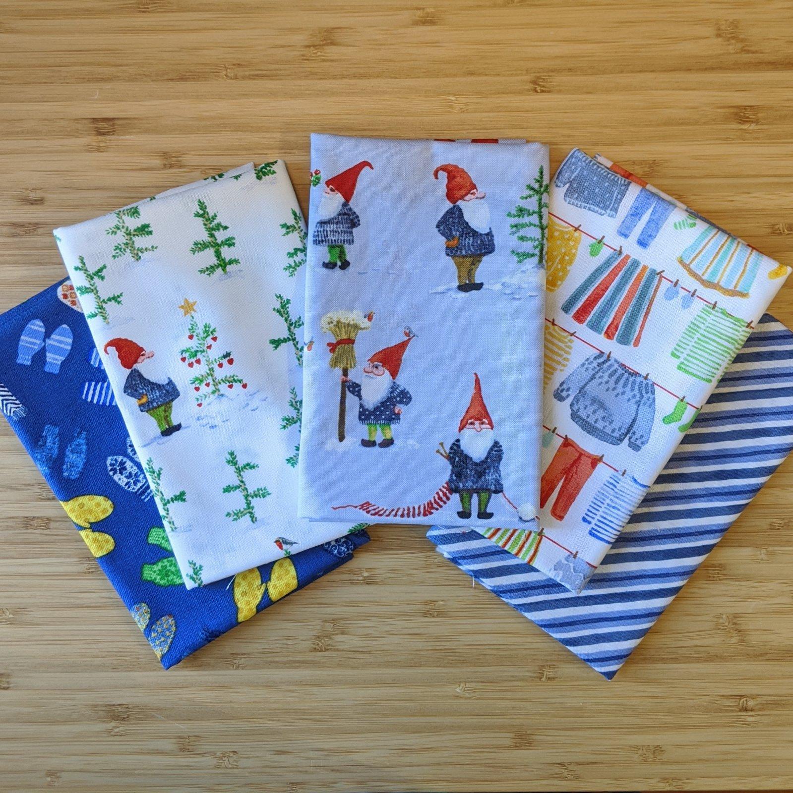 Winter Gnomes in Blue FQ Bundle, 5pc