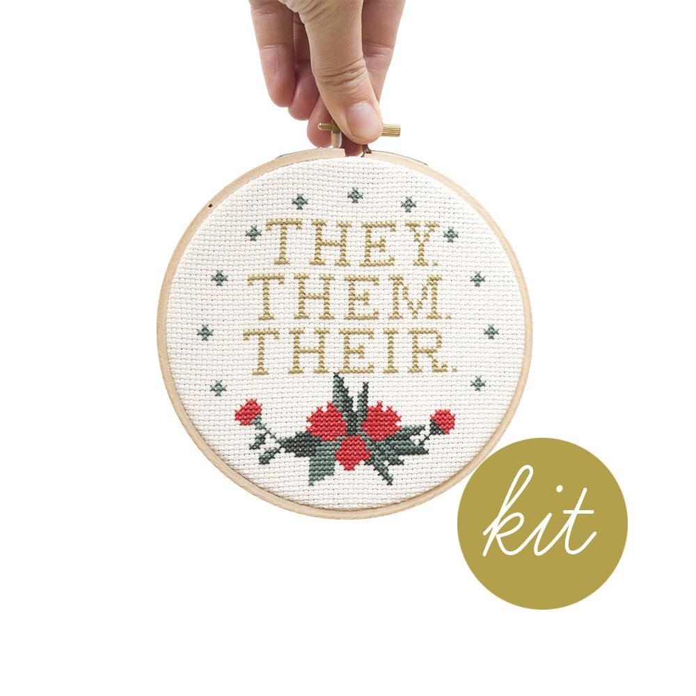 Pronouns (They, Them, Their) Cross Stitch Kit