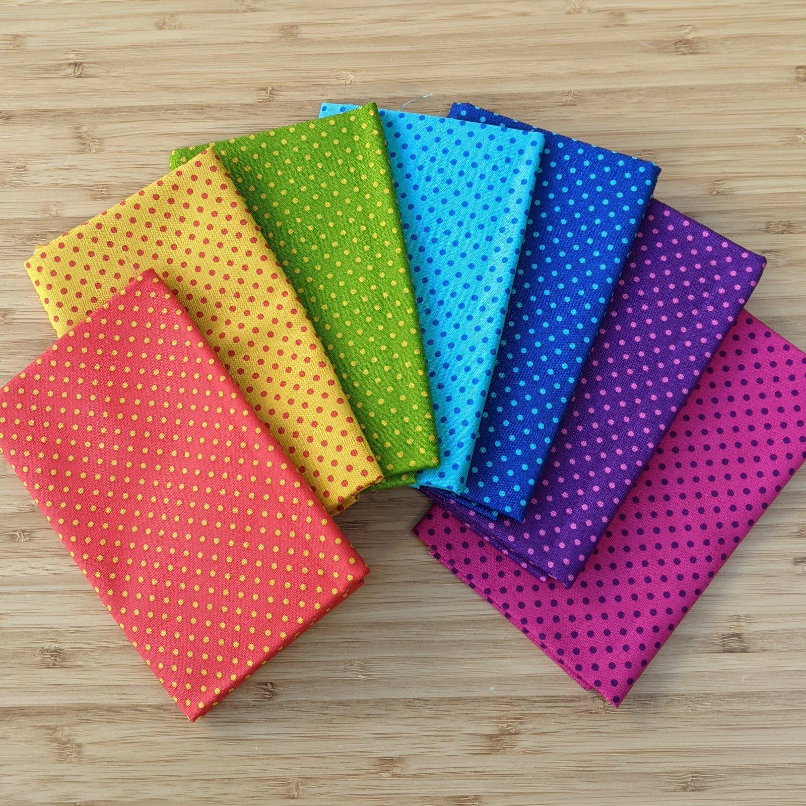 Rainbow Spot FQ Bundle, 7 pc