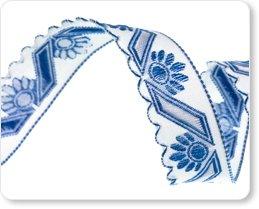 Blue Flower on White Scallped Edge 5/8 / Renaissance Ribbon