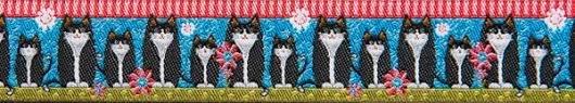 Black cats on blue 7/8 - Odile Bailloeul / Rennaisance Ribbon