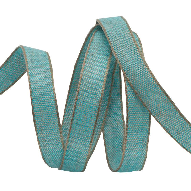 Aqua Cotton/Linen Tape 3/8  / Renaissance Ribbon
