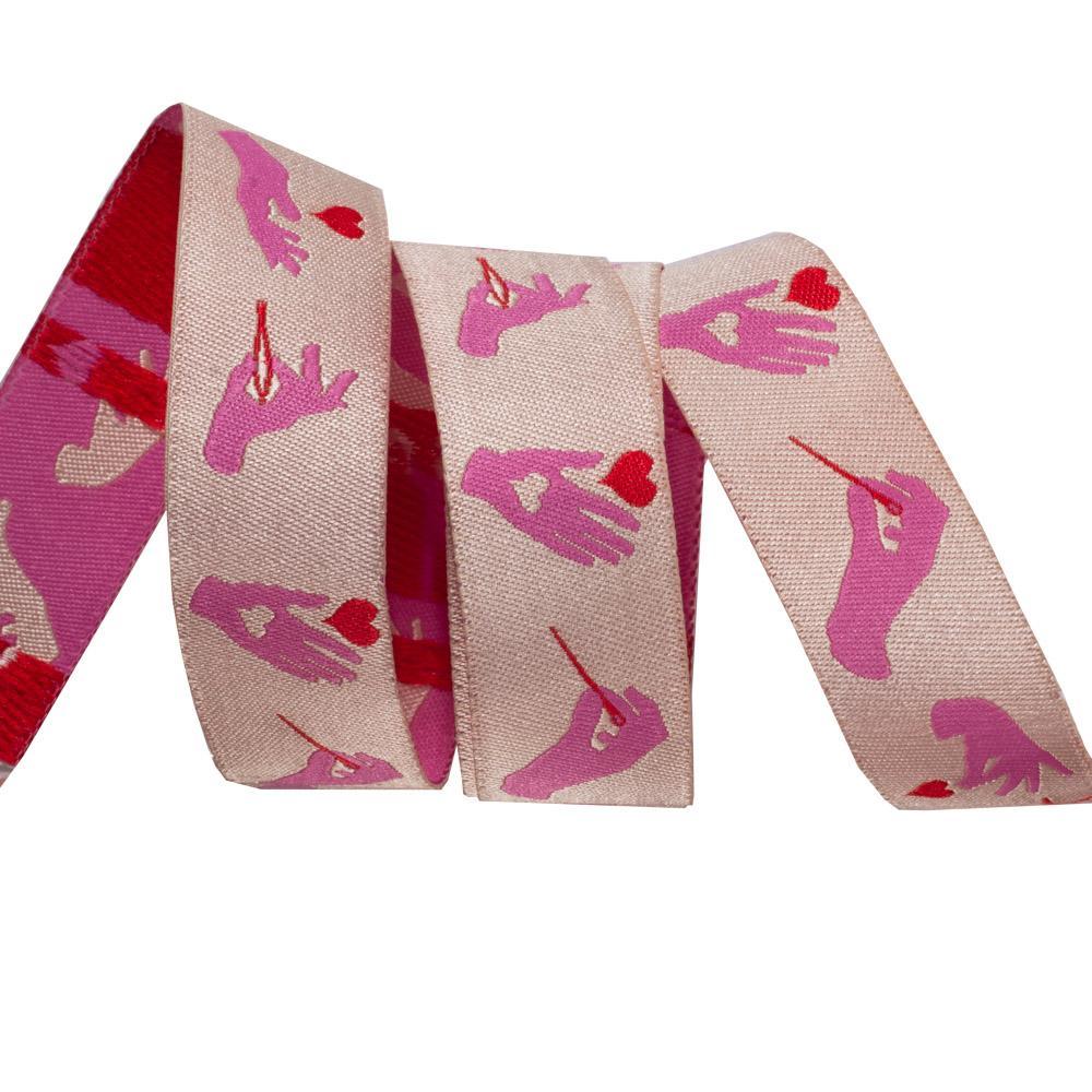 Busy Fingers, Morning Pink-Tula Pink-7/8 / Renaissance Ribbon