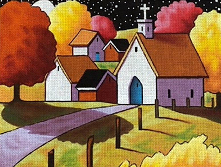 Town Scene with Church by Maggie & Co.