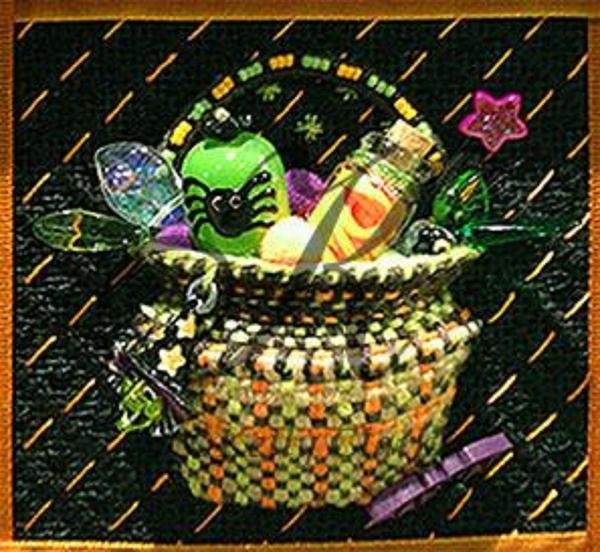 Halloween Tricks Basket with Stitch Guide and Embellishments