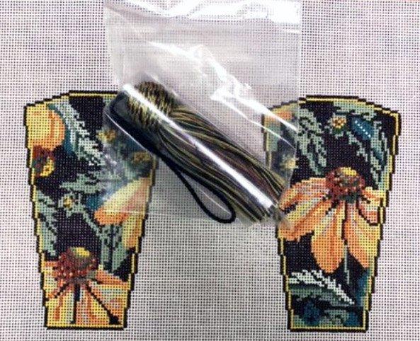 Scissor Case with Tassel, Yellow Echinacea