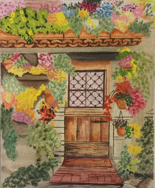 Cottage Entry with Gardens and Florals