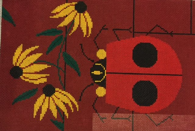 Lady Bug with Yellow Flowers