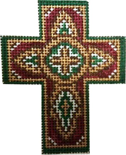 Cross, Burgundy with Dark Teal and Gold