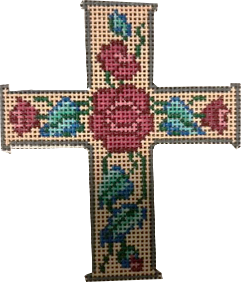 Cross, Cross with Red Flowers on Gold