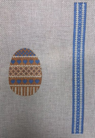 Egg, Elegant Blue and Yellow with stitch-able Gusset Panel