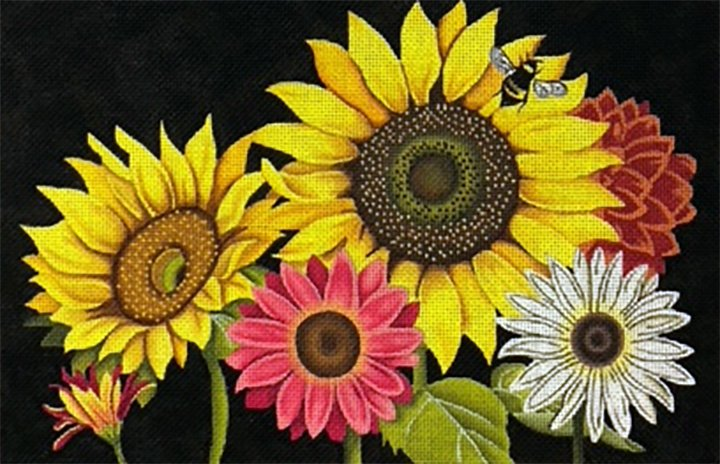 Daisies and Sunflowers on Black