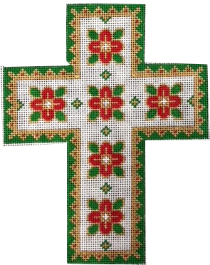 Cross, Floral on White