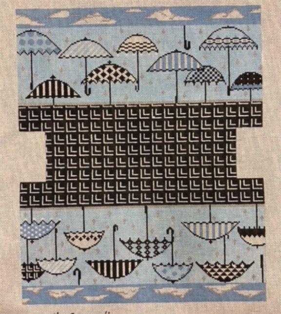 Fold over Bag with Blue Umbrellas