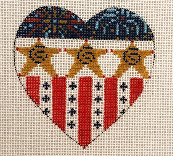 Heart, American Flag, Stars and Fireworks
