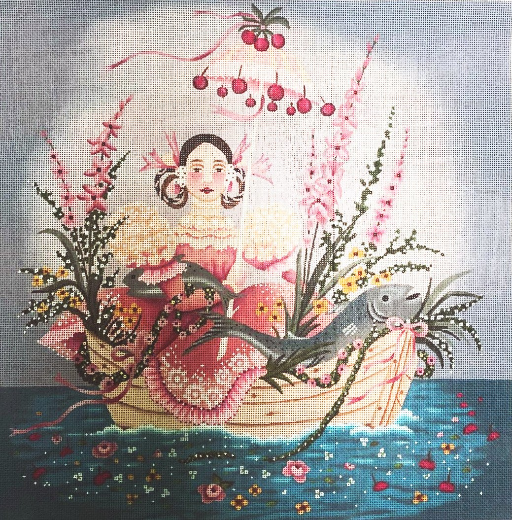 Girl in Boat with Fish