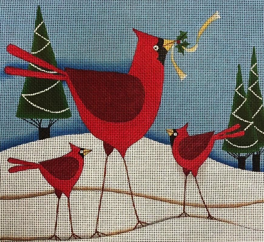 Holiday Cardinal Family
