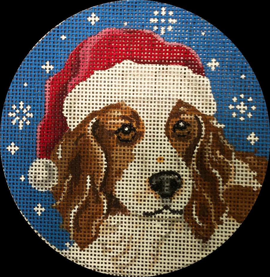 Ornament, Santa Spaniel Round