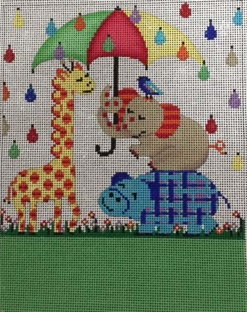 Baby Elephant and Giraffe with Umbrella
