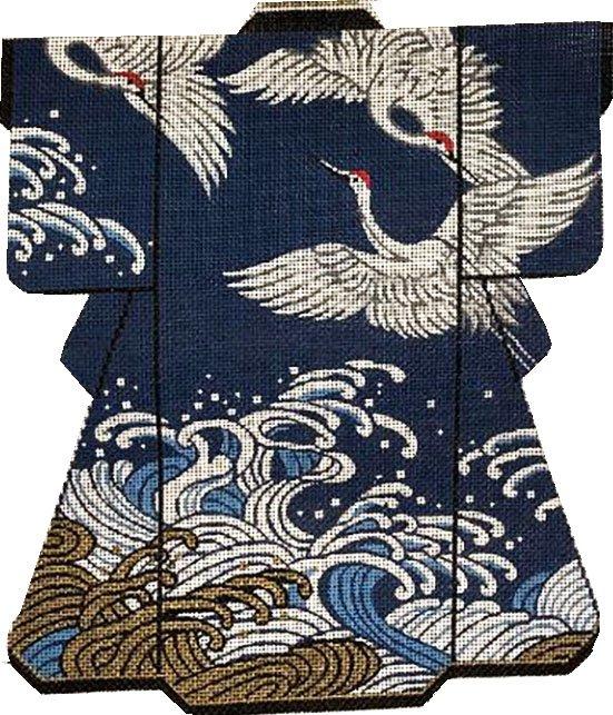 Kimono, Cranes on Navy