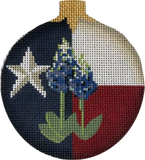 Ornament, Texas Flag with Bluebonnets