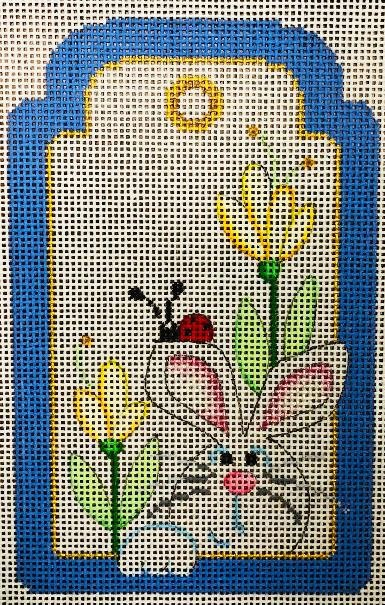 Gift Tag, Bunny in Blue Frame