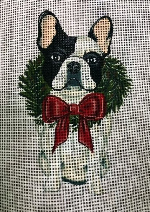 Ornament, Wreath Pup-Boston Terrier