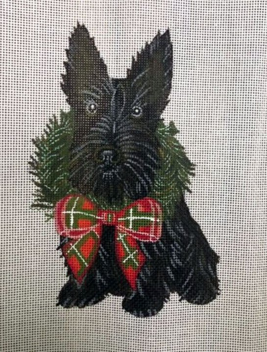 Ornament, Wreath Pup-Scottie