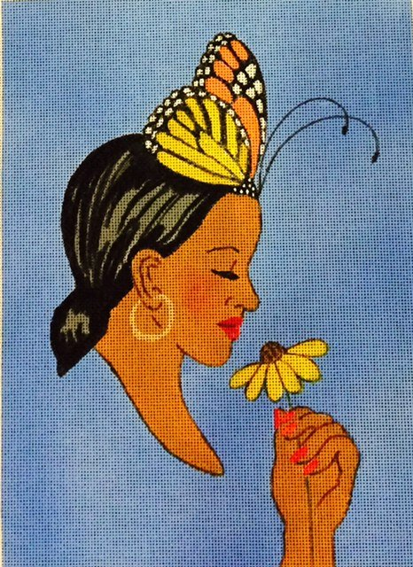 Lady with Yellow Flower in Hand