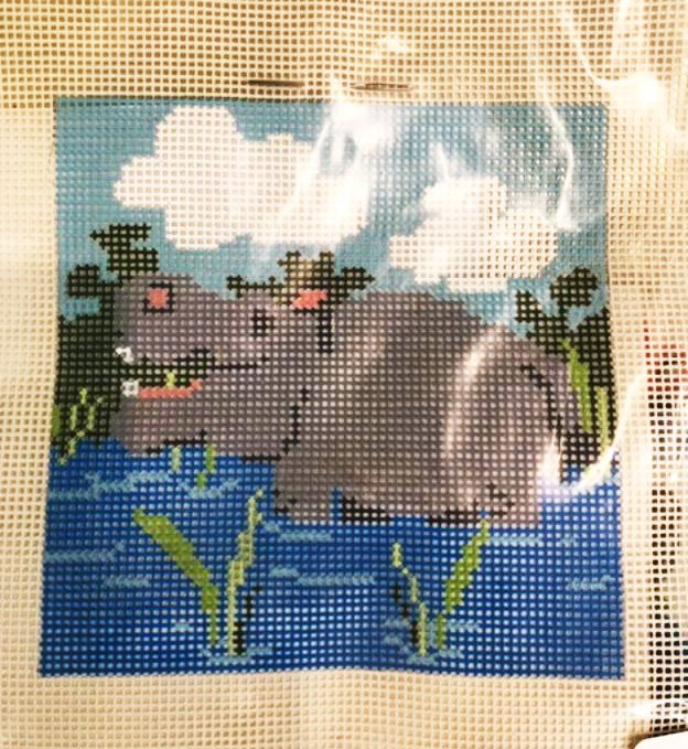 Learn to Needlepoint, Hippo