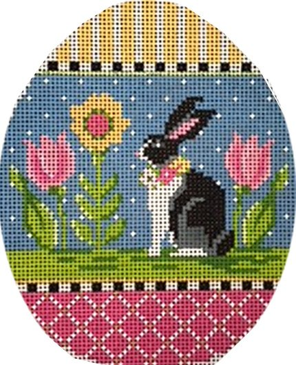 Egg with Rabbit and Tulips
