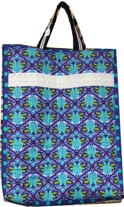 Blue Floral and Lace Long Tote