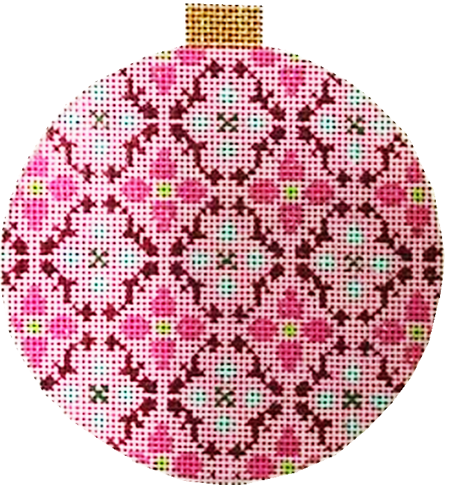 Ornament, Florentine Bauble - Fuchsia
