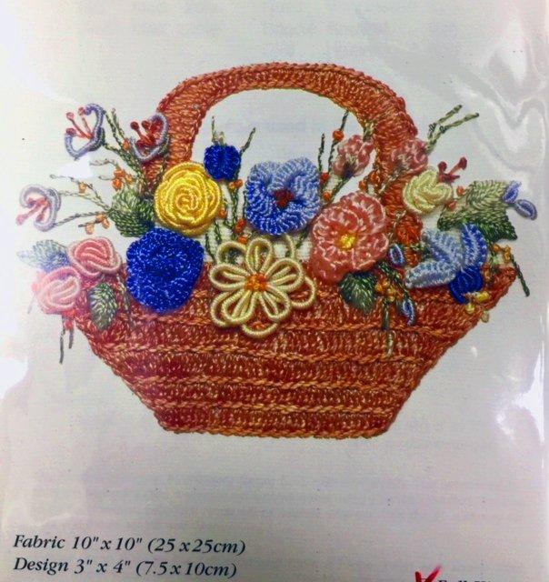 Brazilian Embroidery Kit,  Flower Basket