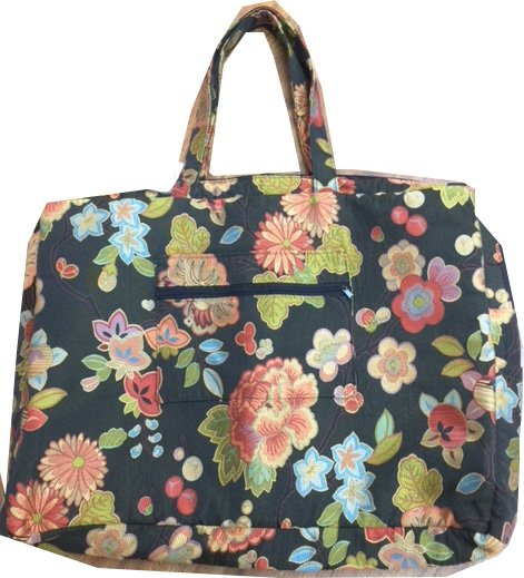 Black Floral Short Handle Tote