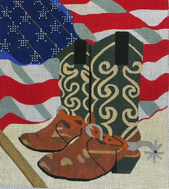 Boots and American Flag