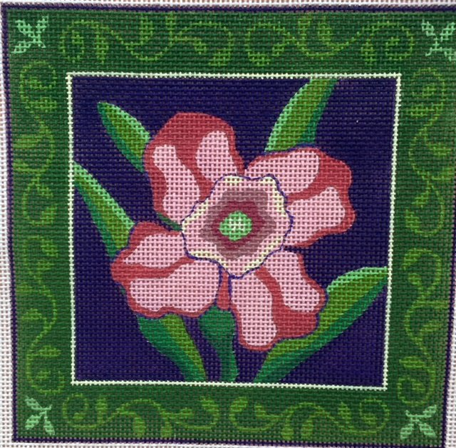 Pink Flower with Green Border
