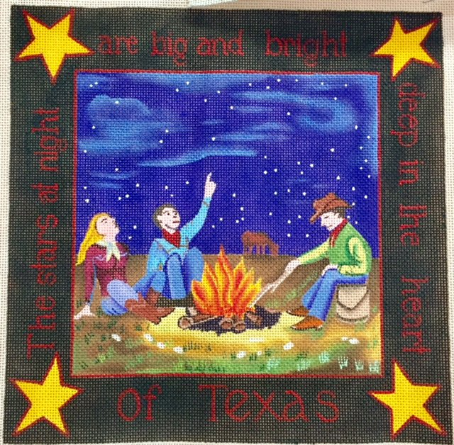 The Stars are Bright Border with Camp Fire Scene