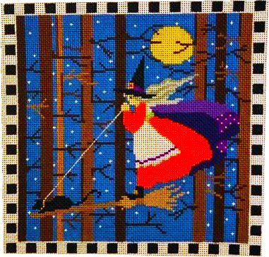 Flying Witch with Checkered Border