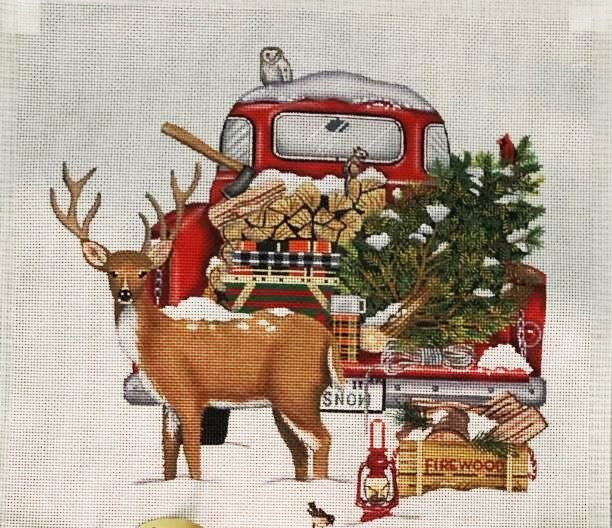 Pillow, Red Snow Truck with Deer