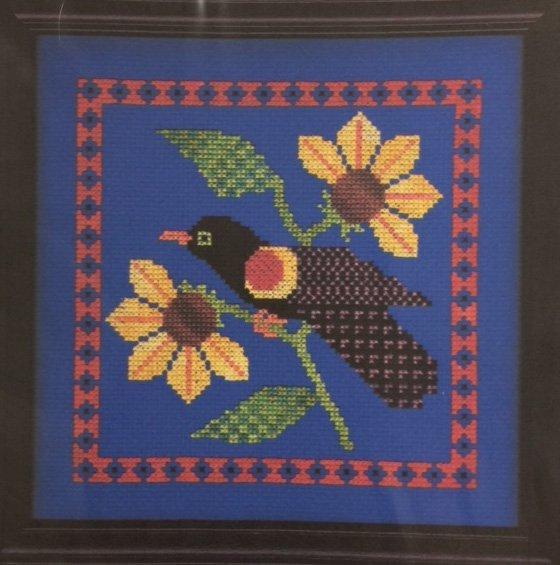 Cross Stitch Bird with Sunflowers