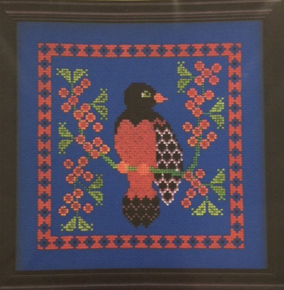 Cross Stitch Bird with Flowers on Sides
