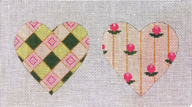 Double Sided Hearts with Pink Flowers