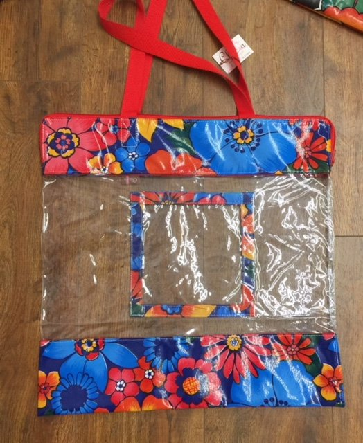 Clear Tote with Bright Flowers Red Handle