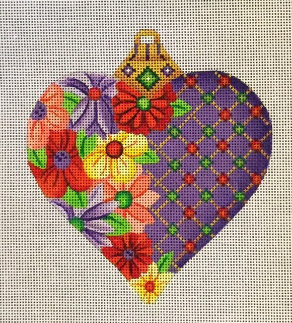 Heart, Purple with Flowers