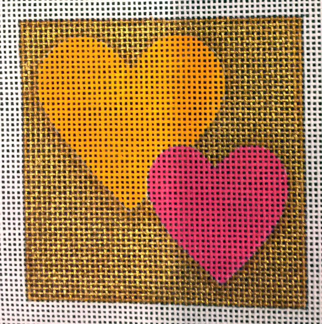 Hearts on Gold Background