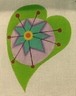 Heart, Green with Star Center