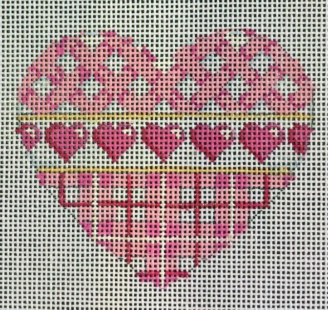 Pink Basket Weave and Plaid Heart
