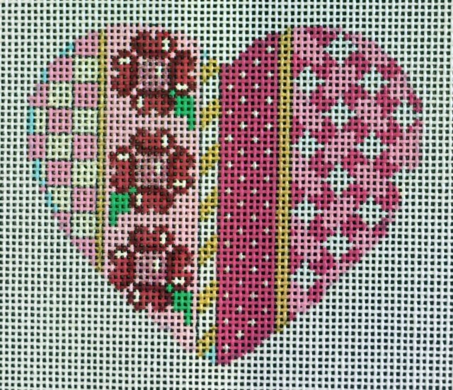 Pink Heart with Floral Panel