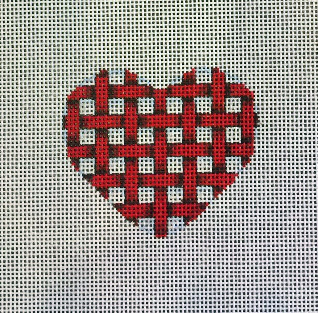 Red and White Basket Weave Heart